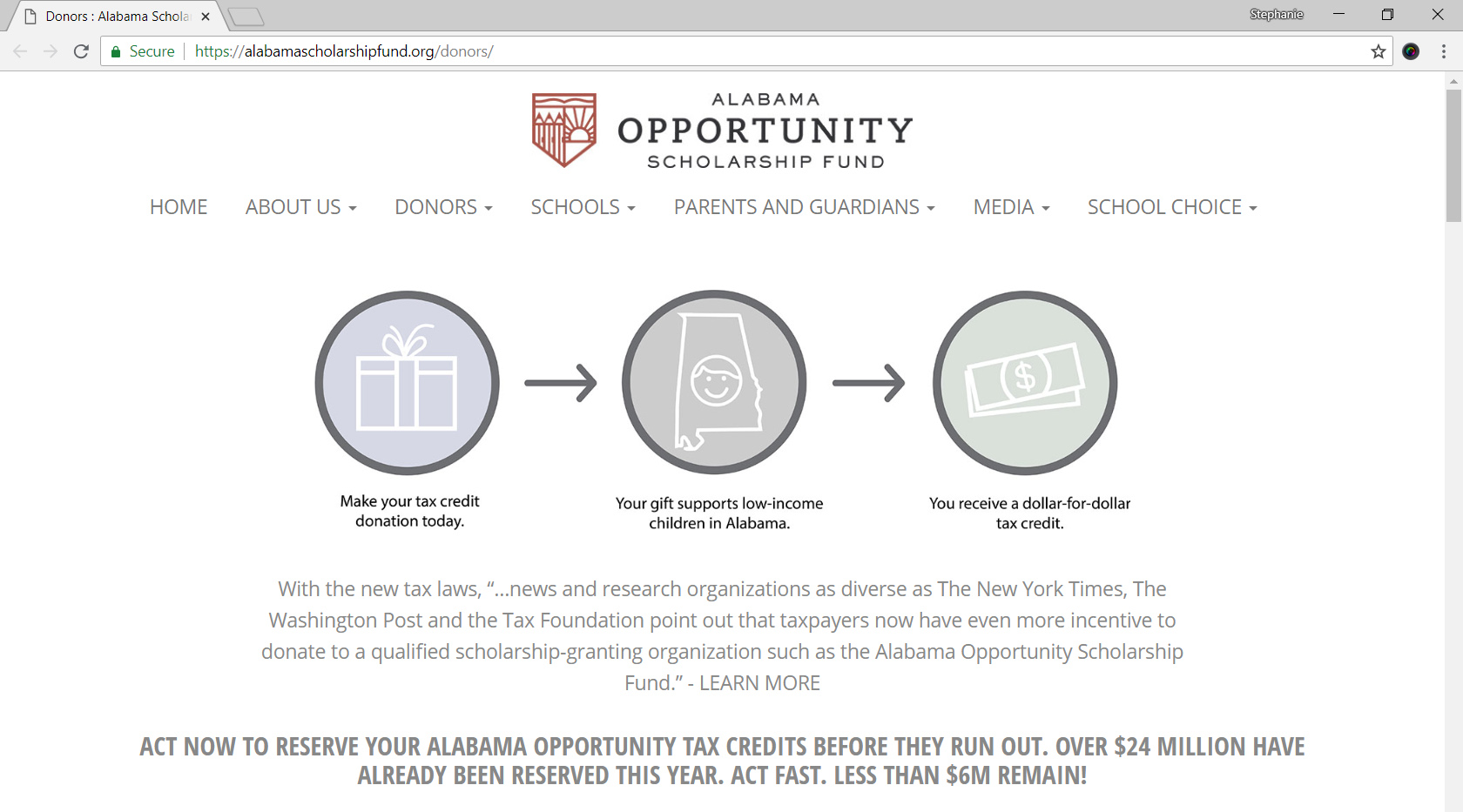 Alabama Opportunity Scholarship Fund Donors Page Screenshot