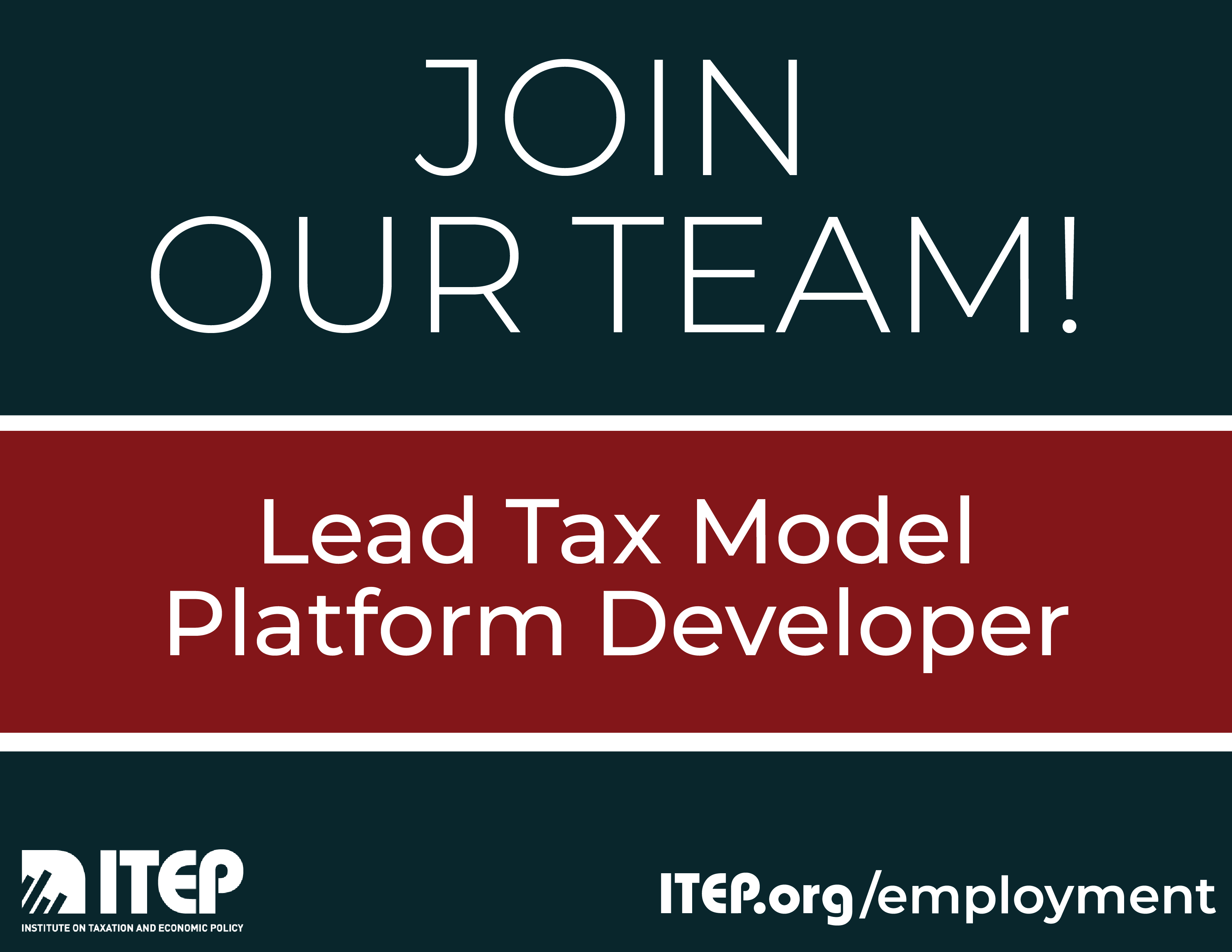 We're Hiring: Lead Tax Model Platform Developer