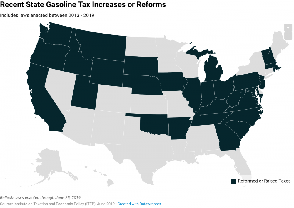 Gas Taxes Rise in a Dozen States, Including an Historic
